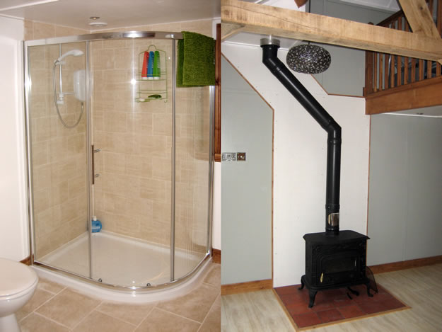 Timber Garden Room Interior Shower Fireplace