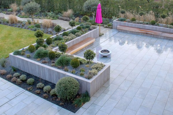 Contemporary new patio landscaping