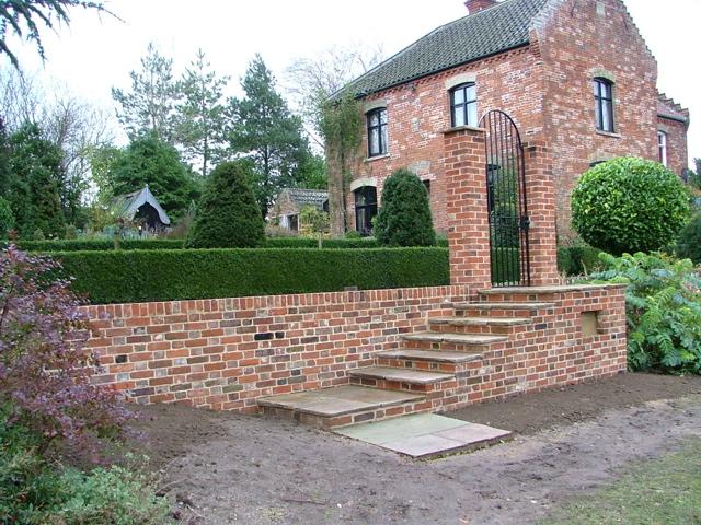 brickwork steps and wall