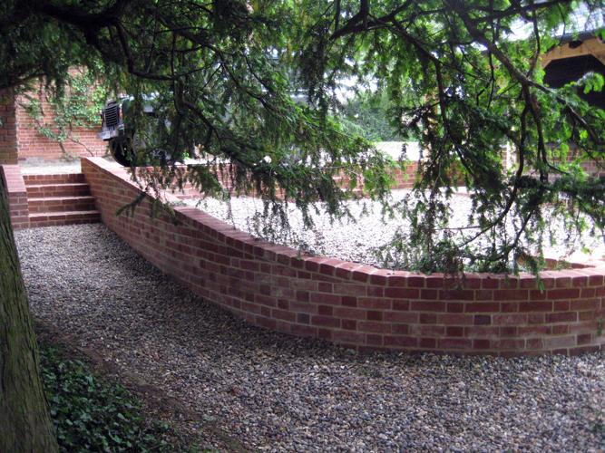 brick wall and steps