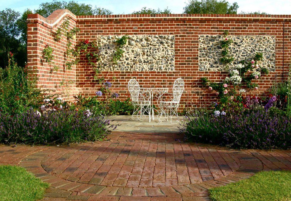 flint panel and brickwork