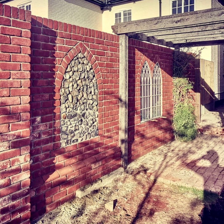 Gothic brick and flint panel work